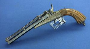 A very nice antique Colette Gravity Pistol, circa 1859, caliber 10 mm, length 40 cm, in very good condition. Price 3.950 euro