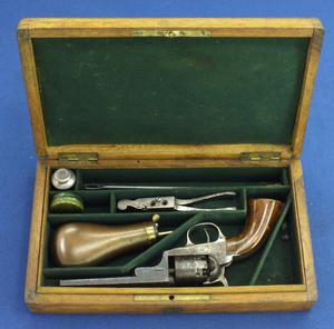 A very nice antique 19th century Cased Small Version of a Brevete Colt Baby Dragoon/Wells Fargo Pocket Percussion revolver, .28 caliber, length 23,5 cm, in very good condition. Price 3.250 euro