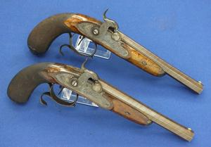 A very nice antique Liege Pair Percussion Pistols signed G. Berleur, caliber 14 mm fine grooves, length 35 cm, in nearly mint condition. Price 2.875 euro