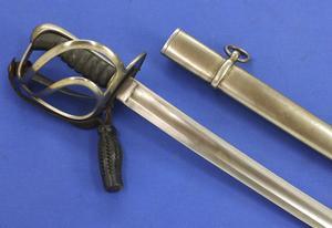 A very nice Antique Dutch Cavalry officers Sword model 1845, length 104 cm, in very good condition. Price 850 euro