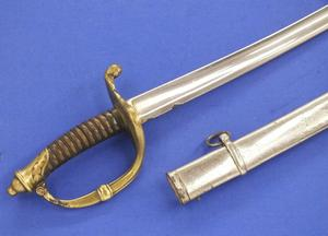 A very nice antique Dutch Infantry Officers Sword Model 1852, length 95 cm, nickel plated, with a repair on the hilt. Price 325 euro