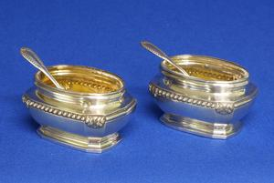 A very nice French Pair of Silver Salt Cellars with original Spoons, Paris after 1838, height 3.8 cm, in very good condition. Price 500 euro reduced to 395 euro