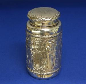 A very nice probably German Silver Tea Caddy, height 12 cm, in very good condition. Price 800 euro reduced to 495 euro