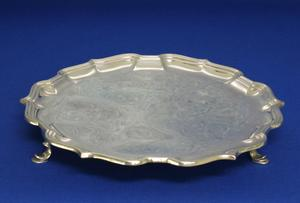 A very nice English Silver Salver, Sheffield 1956, diameter 22 cm, in  very good condition. Price 350 euro reduced to 249 euro