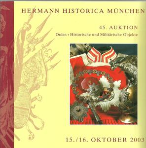 Unused Hermann Historica Catalog 15/16 oktober 2003, 475 pages. Price 25 euro
