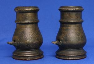 An attractive Antique 18th century French Pair of Bronze signal Mortars, Height 18cm, 4cm caliber. Price 2.500,- euro or 1.250,- each.