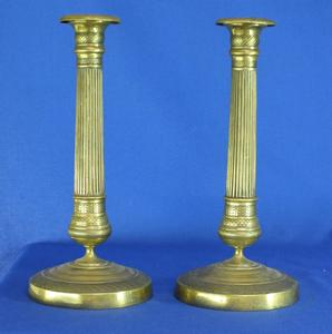 A very nice 19th century antique pair Empire Brass Candlesticks, height 28 cm. Price 565 euro