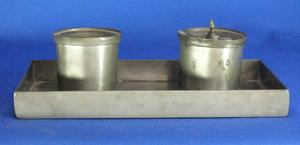 A very nice 19th Century Antique Dutch Pewter Inkwell by J.DRUY ROTTERDAM, 23,5 x 13,5, with damage, Price 225 euro