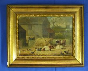 A very nice 19th Century antique Painting on canvas with farm-life by T. HALD. Price 625 euro