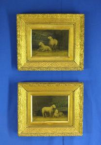 A very nica Pair of 19th Century antique Paintings on oak panels with Sheeps, by O.Dubosquet. Price 950 euro