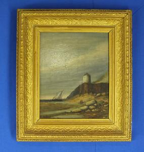 A very nice 18th Century English antique painting on oak panel Coast with lighthouse by A.Brest. Price 325 euro