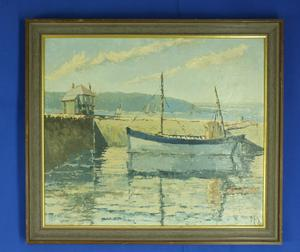 A very nice Painting oil on hardboard ship in harbor, 52 x 43 cm, Price 235 euro