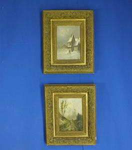 A very nice Pair antique 19th Century Paintings oil on wooden panels, signed Lamois, 20,5 x 14,5. Price 525 euro