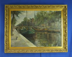 A very nice antique painting Ships in canal, 88 x 63 cm. Price 565 euro