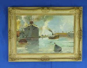A very nice antique oil on canvas Painting Ships in a harbor by V.VEDOR, 58 x 38 cm. Price 285 euro