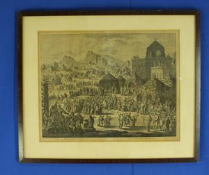 A very nice Dutch engraving Loofhuttenfeest by Jan Luyken (1649 - 1712), 57 x 47 including frame. Price 190 euro