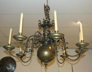 A very nice antique 18th Century German Brass Chandelier with 8 Arms, wide 100 cm. Price 4.950 euro