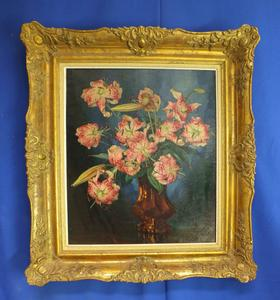 A very niec antique oil on canvas painting flowers by L, van de Leur, 58 x  48 cm, Price 350 euro