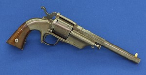 A fine and scarce antique American Allen & Wheelock Center Hammer Lipfire Army 6 shot caliber 44 single action Revolver. Only 250 made!. 7,5 inch barrel with clear address. Length 34,5cm. In very good condition. Price 3.850 euro.