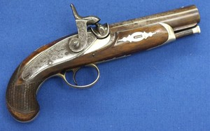 A fine antique 19th century American Deringer Percussion Pistol signed Deringer, caliber 11,5 mm rifled, length 20,5 cm, in very good condition. Price 1.600 euro