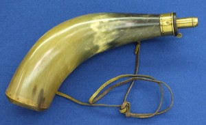 A fine antique large English Powder horn signed