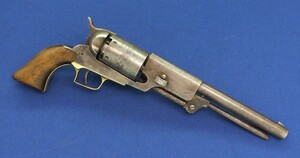 A Scarce antique 19th century Colt Brevete Walker Model 1847 6 shot single action 44 caliber percussion Revolver. 9 inch Barrel with New York address. Length 42 cm. In very good condition.