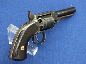 A  scarce antique American James Warner Second Model  Pocket Percussion Revolver,  .28 caliber, 3