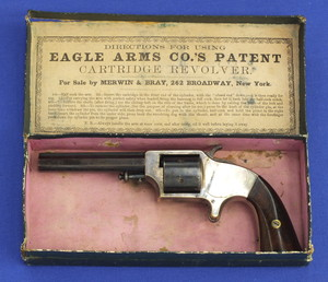 A very fine antique American Eagle Arms Plant's Frontloading Pocket 6 shot Revolver in it's original hinge top box .30 cup primed caliber, length 20,5 cm, in near mint condition. Price 2.900,- euro