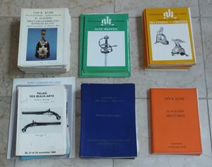 A very interesting Lot of 55 Catalogs of Antique Arms and Armour  and Militaria from the sixties till nineties from Jan Kube and other auctions. Total price 150 euro