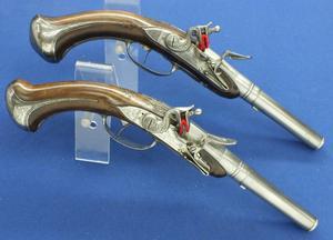 A very nice 18th Century French Pair Breech Loading Antique Flintlock Pistols by LeHollandois A Paris, caliber 14 mm rifled, length 37 cm, in very good condition.