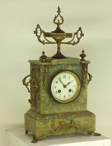 A very nice 19th Century French Green Marble Mantle Clock, height 45 cm. Price 175 euro