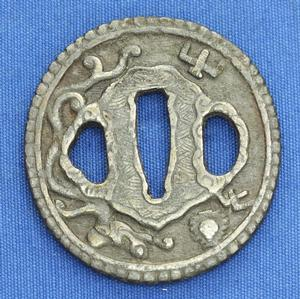 A very nice Antique 19th century Japanese Tsuba with chiselled dragon, diameter 6.5 cm, Price 175 euro