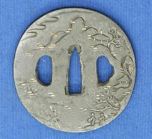 A very nice Antique 19th century Japanese Tsuba with engraved trees, diameter 7.3 cm, Price 175 euro