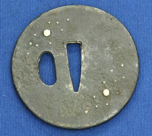 A very nice Antique 19th century Japanese Tsuba with moon and stars, diameter 7.1 cm, Price 175 euro