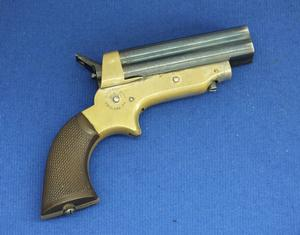 A very nice antique American Sharps & Hankins 4 Shot Pepperbox Pistol Model 2A, .30 Rimfire caliber, length 16,5 cm, in nearly mint condition. Price 995 euro