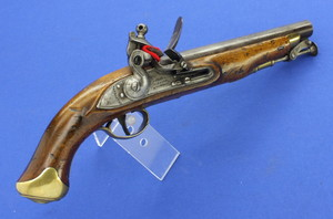A very nice antique English New Land Pattern Flintlock Pistol by Woolley, Sargant & Fairfax, circa 1800, caliber 16 mm, length 40 cm, in very good condition