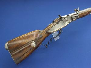 A very nice antique German Wheellock Rifle signed REISMULLER, circa 1700, caliber 17 mm rifled, length 116 cm, in very good condition. Price on request