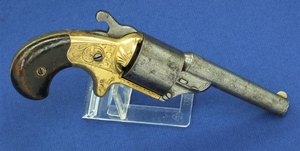 An Antique American Moore's Patent Frontloading Teatfire Pocket Revolver. 32 Caliber, length 18cm. In good condition. Price 750,- euro