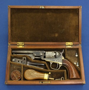 An antique American rare Kidder deluxe cased Colt model 1849 Pocket 6 shot 31 Caliber percussion revolver with 5 inch barrel with Colt New York address. In very good condition. Price 5250,- euro