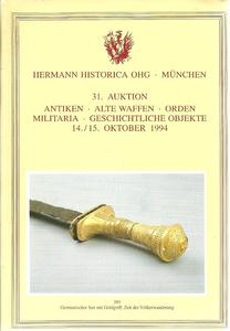 The Hermann Historica Auction Catalogue 14&15 October 1994. Price 25 euro