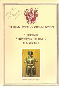The Hermann Historica Auction Catalogue 19 March 1983. Price 15 euro